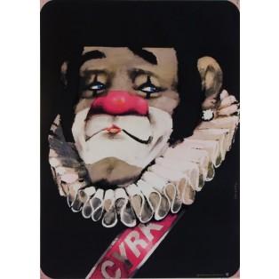 Cyrk klaun z kryzą  Waldemar Świerzy Polskie Plakaty Cyrkowe