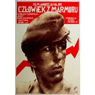 Człowiek z marmuru Andrzej Wajda Waldemar Świerzy Polskie Plakaty Filmowe