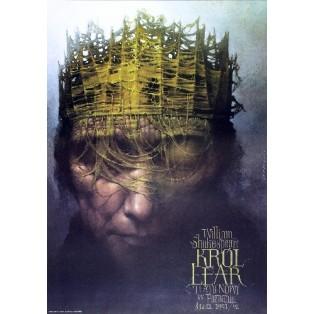 Król Lear Wiesław Wałkuski Polskie Plakaty Teatralne