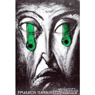 Maraton Teatralny 7. Leszek Żebrowski Polskie Plakaty Teatralne